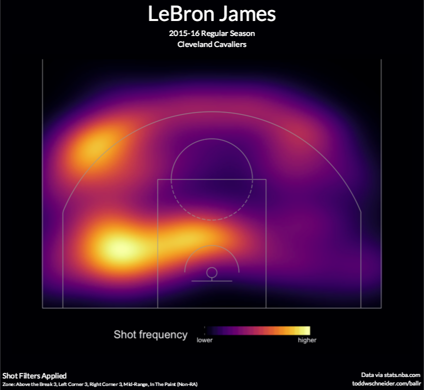 lebron heat map excluding restricted area